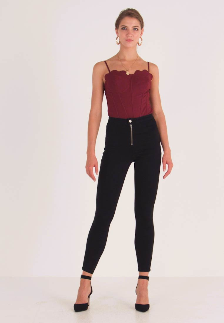 Missguided - VICE BUTTON UP WITH ANKLE ZIP - Skinny džíny - black - 1
