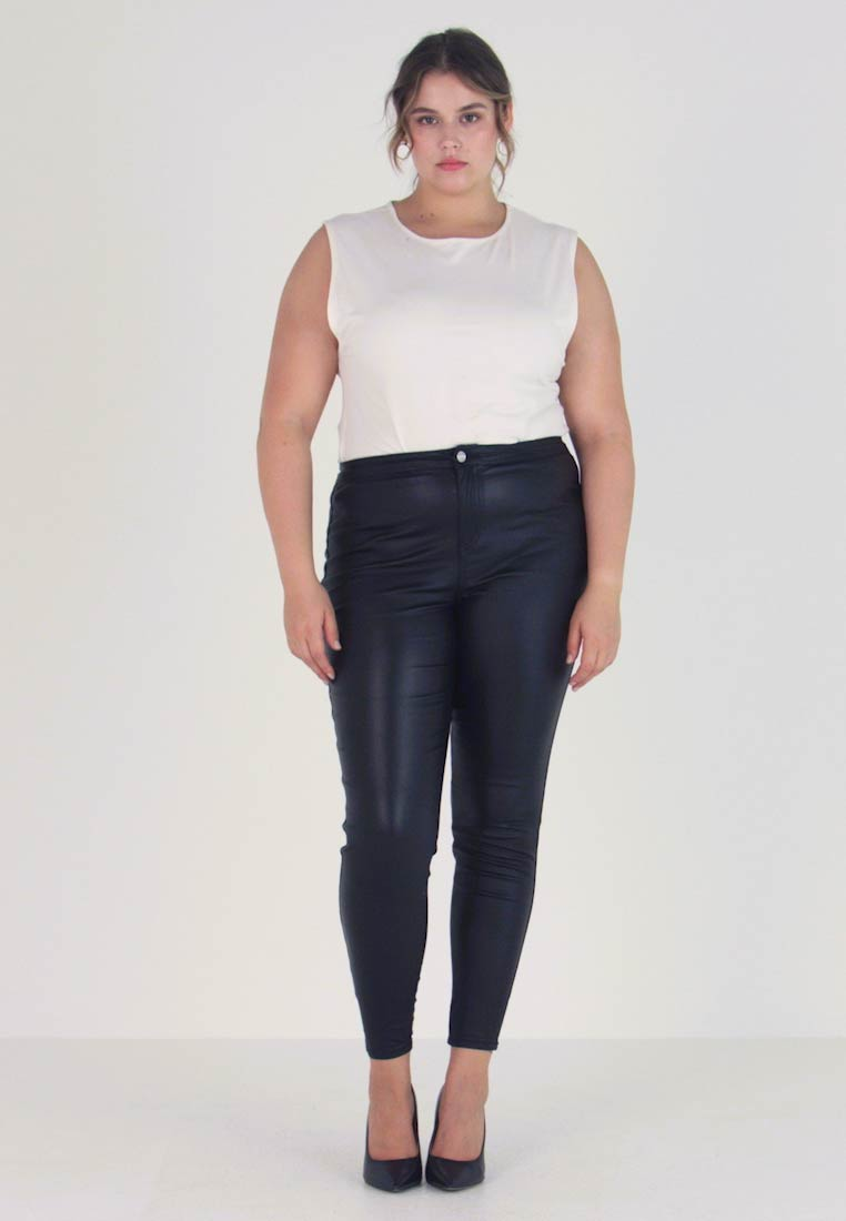 Missguided Plus - CURVE VICE HIGH WAISTED COATED - Bukse - black - 1