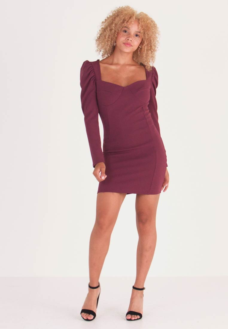 Missguided Petite - PUFF SLEEVED PANELLED MINI DRESS - Day dress - burgundy - 1