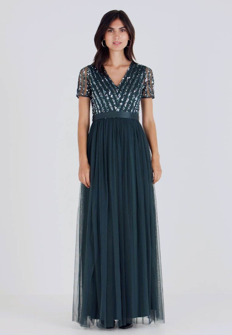 Maya Deluxe - STRIPE EMBELLISHED MAXI DRESS WITH BOW TIE - Vestido de fiesta - emerald - 1