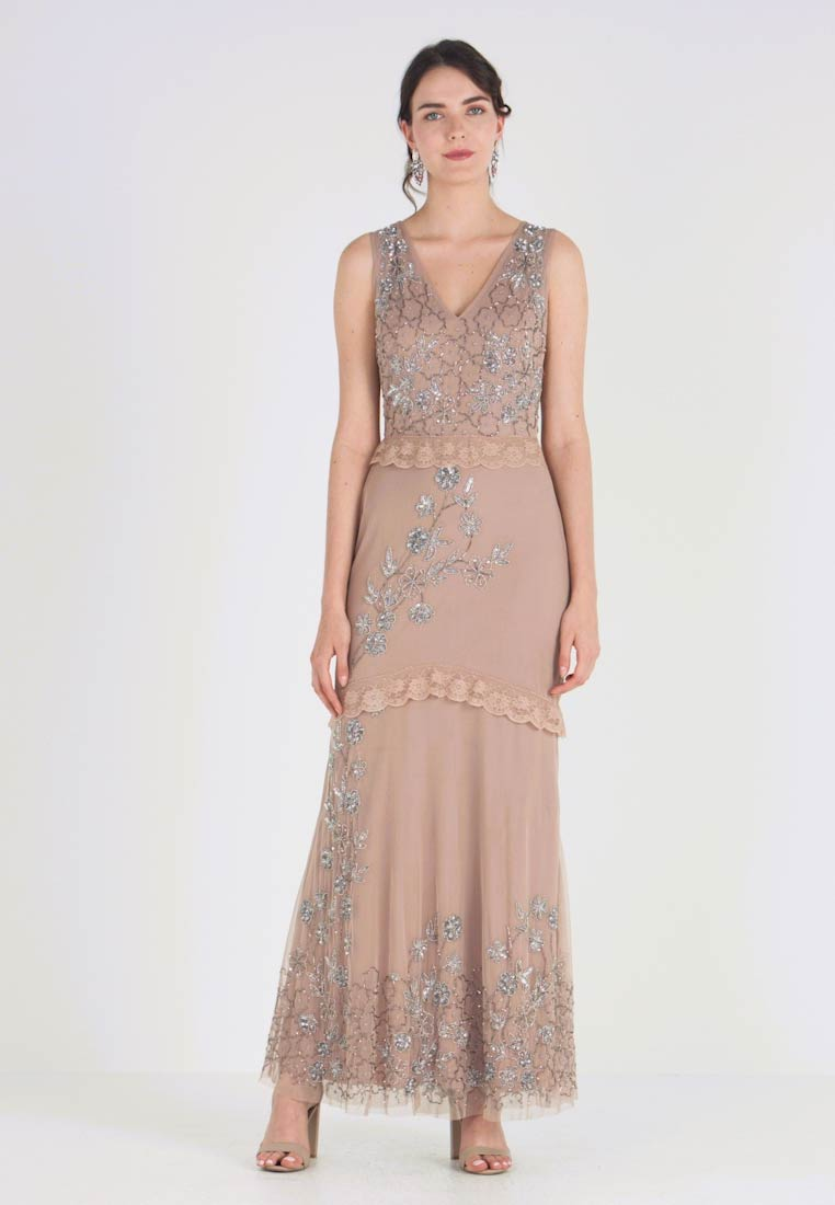 Maya Deluxe - V NECK MAXI DRESS WITH PLACEMENT EMBELLISHMENT AND DETAILING - Occasion wear - taupe blush - 1