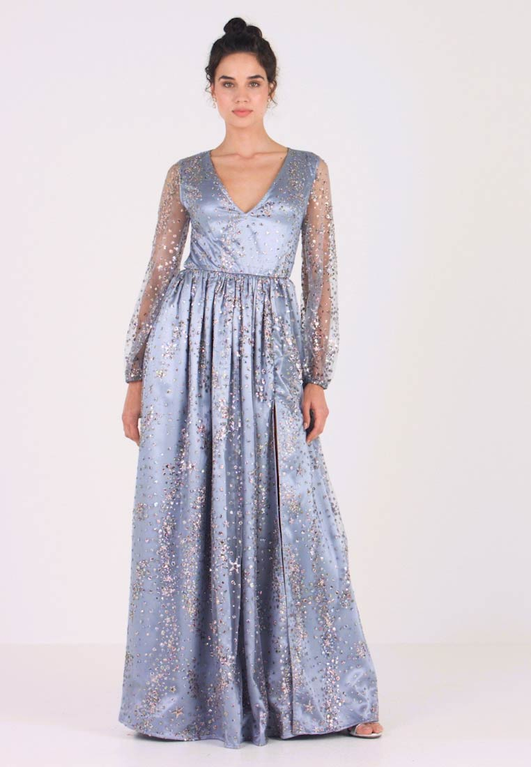 Maya Deluxe - STAR GLITTER MAXI DRESS WITH BISHOP SLEEVES AND OPEN BACK - Ballkjole - blue/multi - 1