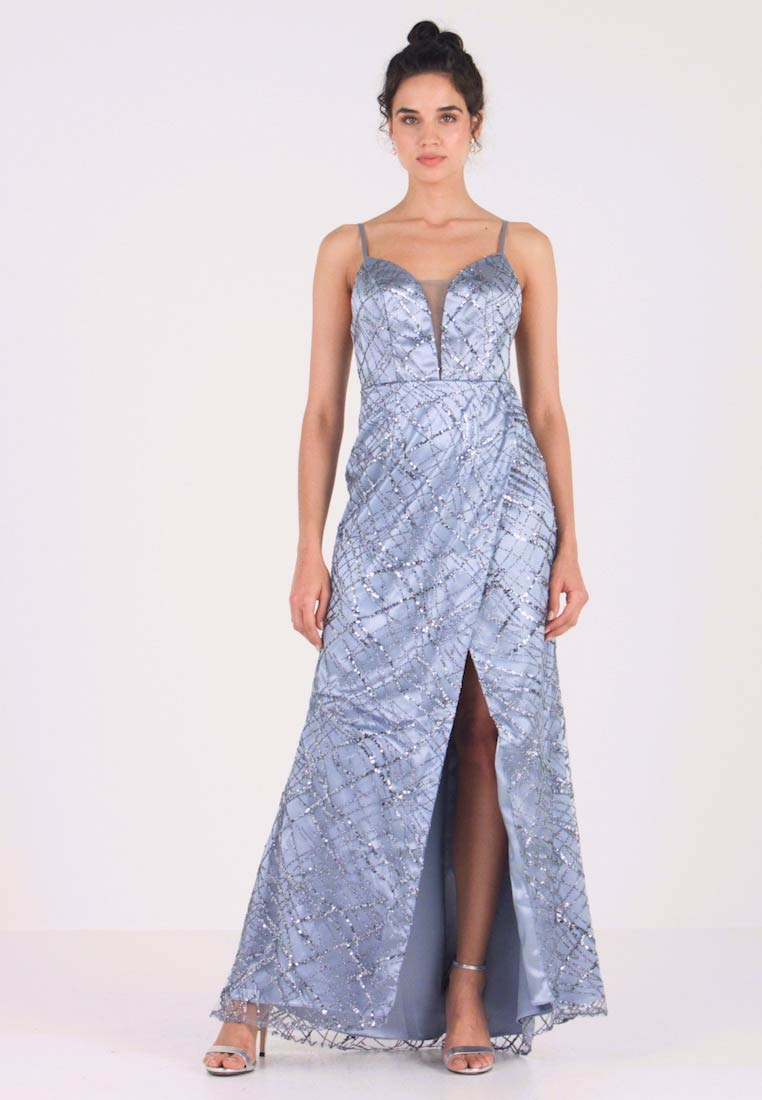 Maya Deluxe - ALL OVER GLITTER CAMI MAXI WITH PLUNGE FRONT - Robe de cocktail - blue - 1
