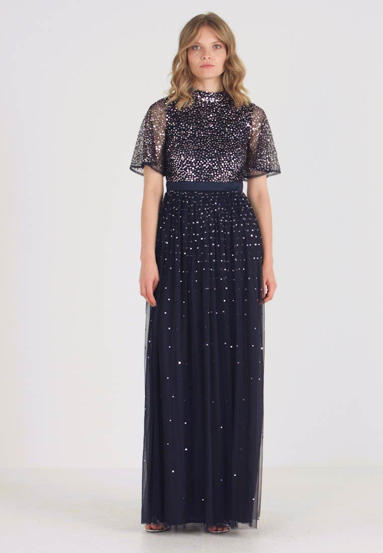 Maya Deluxe - HIGH NECK MAXI DRESS WITH OPEN BACK AND SCATTERED SEQUIN - Galajurk - navy - 1