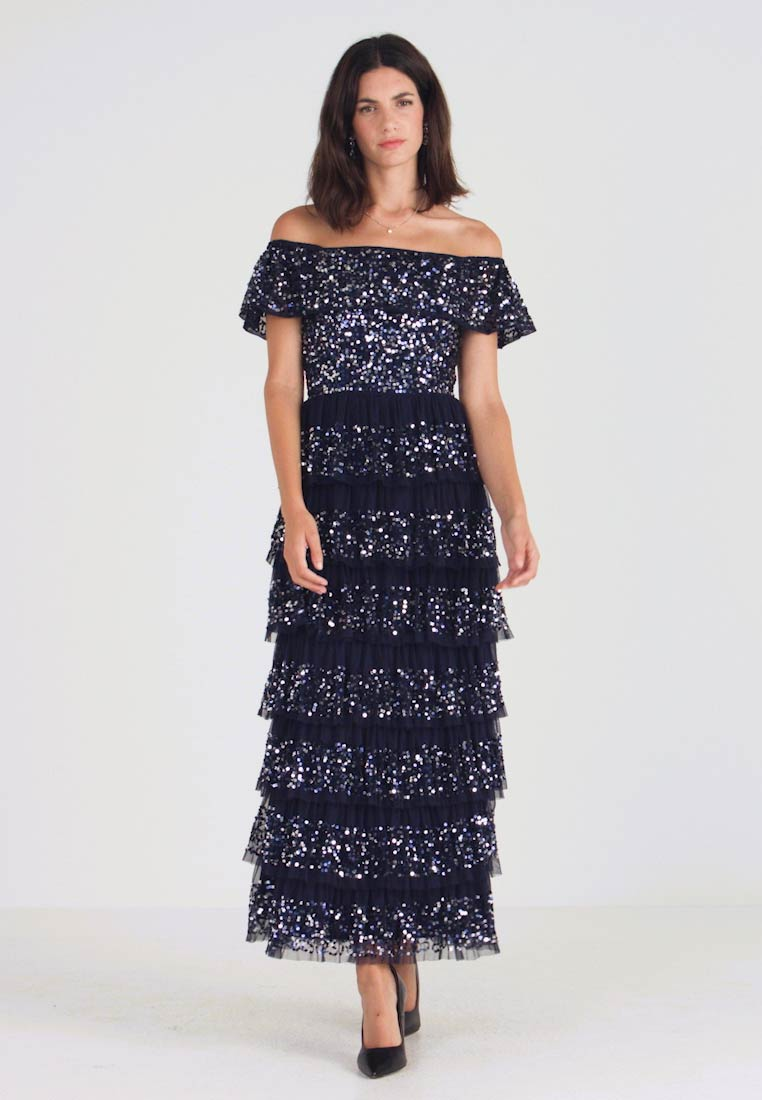 Maya Deluxe - ALL OVER EMBELLISHED TIERED BARDOT MIDAXI DRESS - Occasion wear - navy - 1