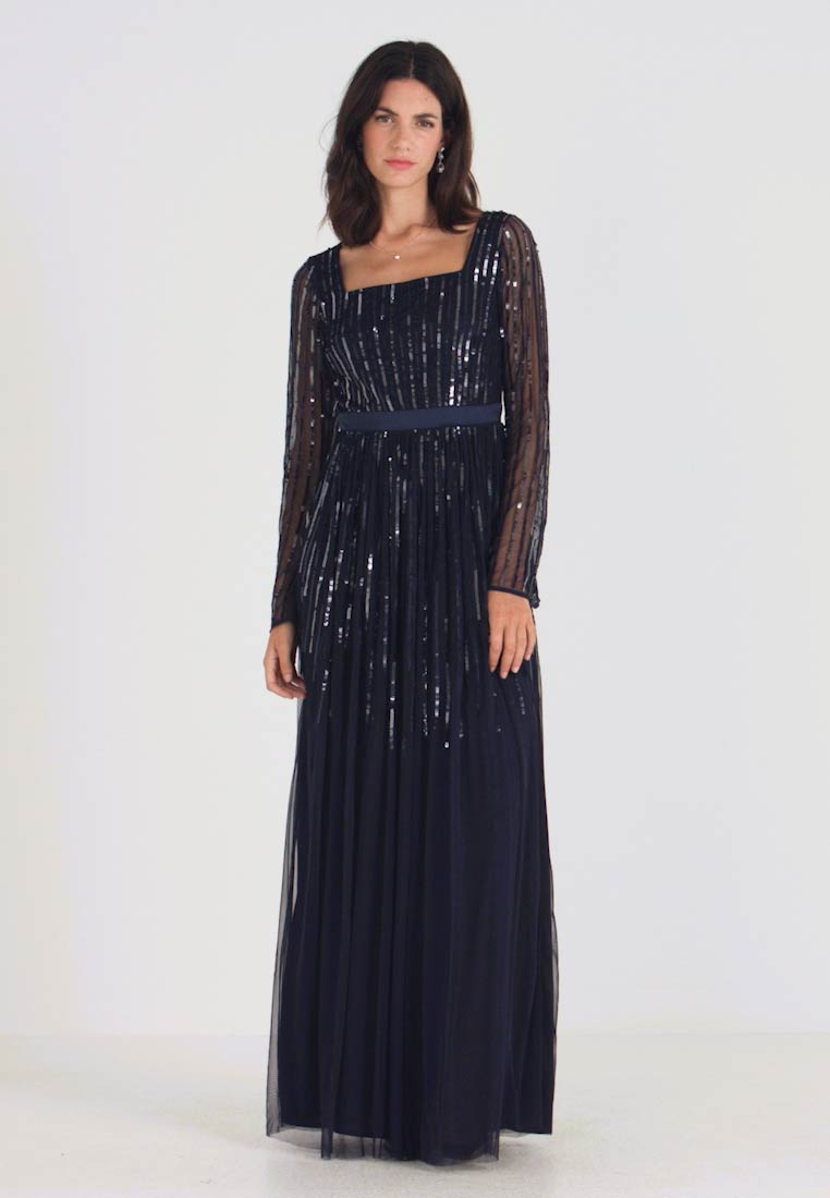 Maya Deluxe - SQUARE NECK STRIPE EMBELLISHED MAXI DRESS WITH FLUTED SLEEVES - Occasion wear - navy - 1