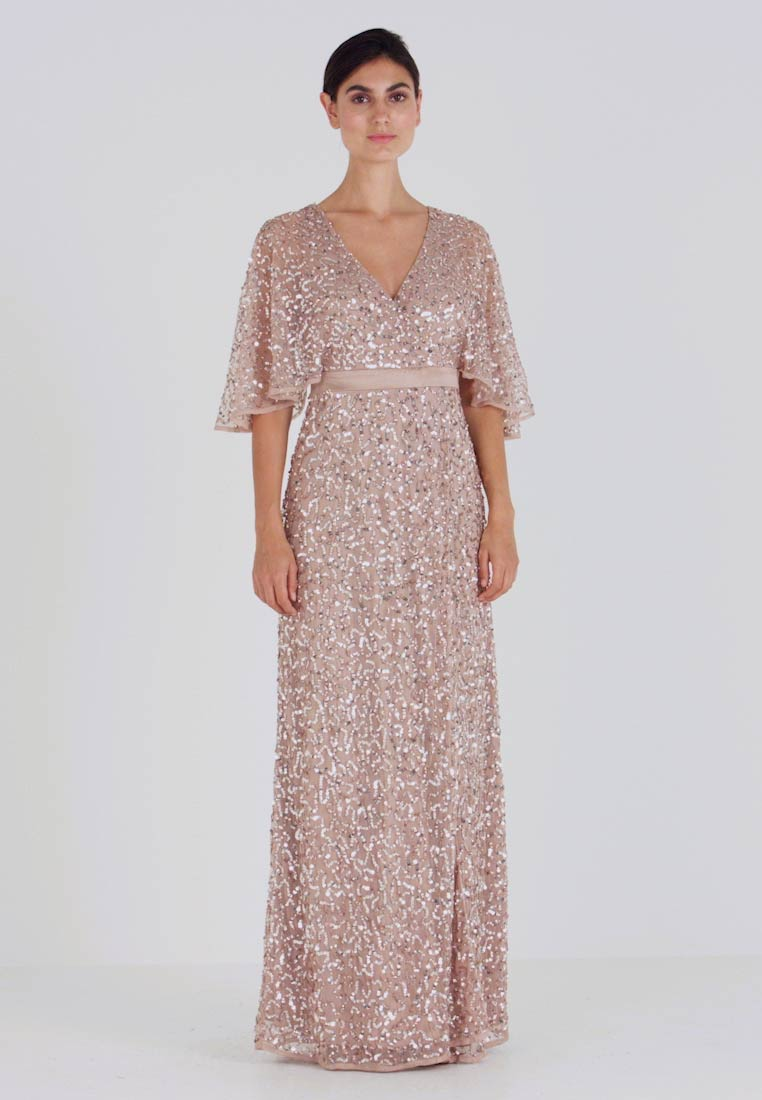 Maya Deluxe - KIMONO SLEEVE ALL OVER DELICATE SEQUIN MAXI DRESS - Iltapuku - taupe blush - 1