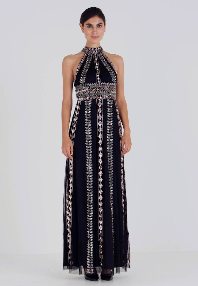 Maya Deluxe - EMBELLISHED HIGH NECK MAXI DRESS - Ballkjole - black/multi - 1