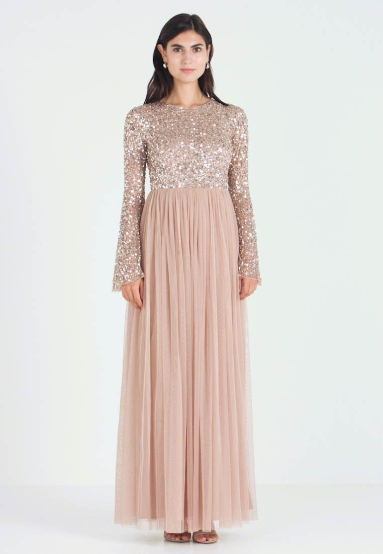 Maya Deluxe - ROUND NECK DELICATE SEQUIN BELL SLEEVE MAXI DRESS WITH SKI - Iltapuku - taupe blush - 1