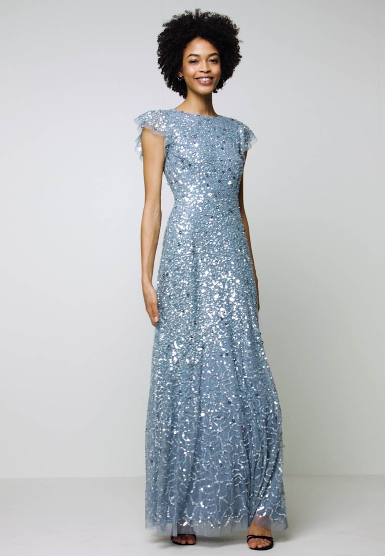 Maya Deluxe - DIP BACK ALL OVER SEQUIN MAXI DRESS - Galajurk - dusty blue - 1