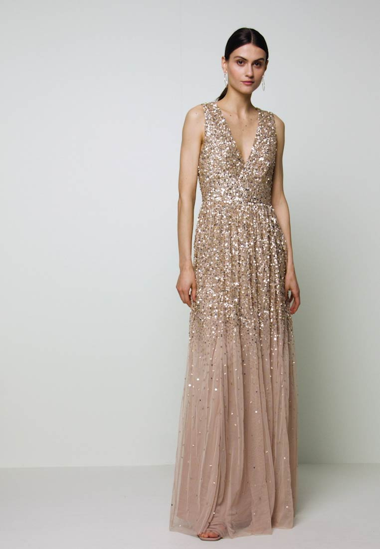 Maya Deluxe - EMBELLISHED NECK MAXI DRESS - Suknia balowa - gold - 1