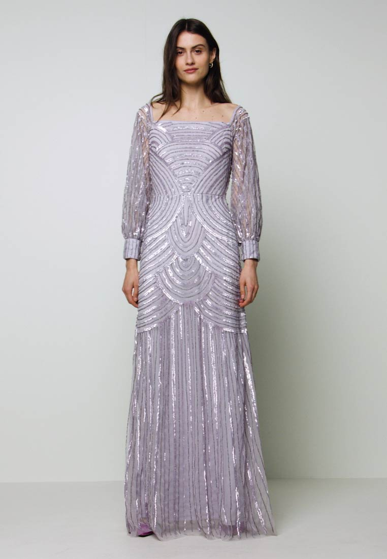 Maya Deluxe - OFF SHOULDER LONG SLEEVE MAXI DRESS WITH EMBELLISHMENT - Occasion wear - soft lilac - 1