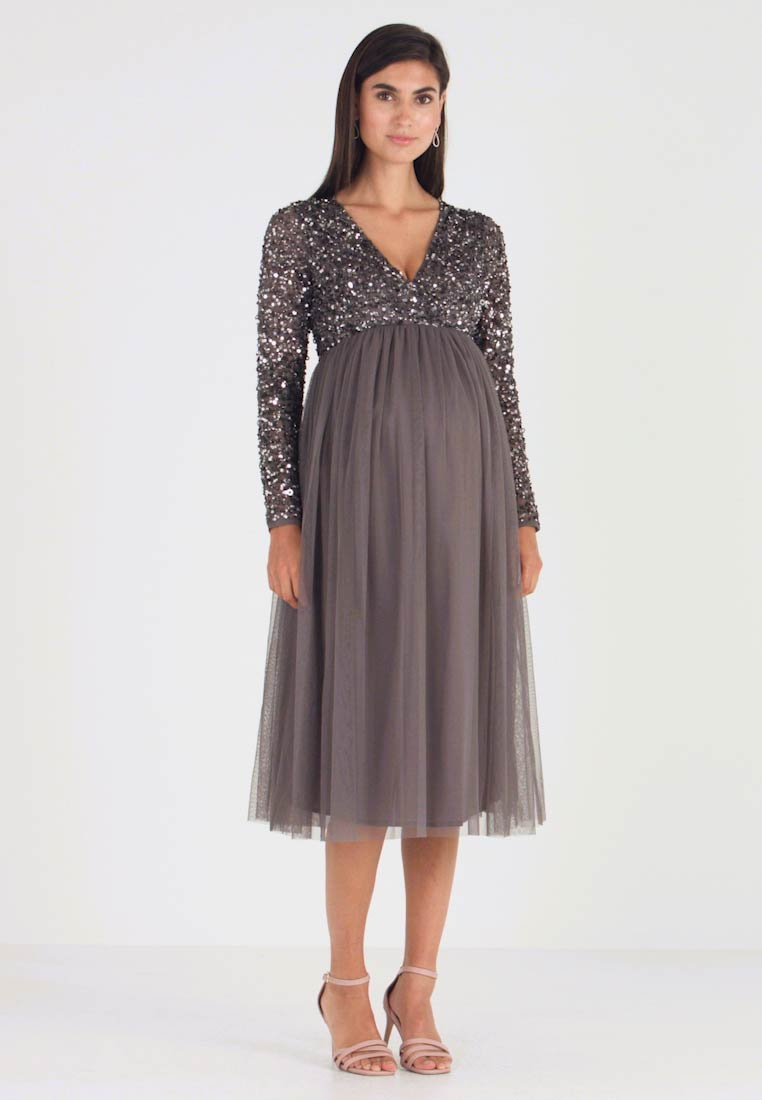 Maya Deluxe Maternity - LONG SLEEVE WRAP MIDI DRESS WITH DELICATE SEQUIN EMBELLISHMENT - Robe de soirée - charcoal - 1