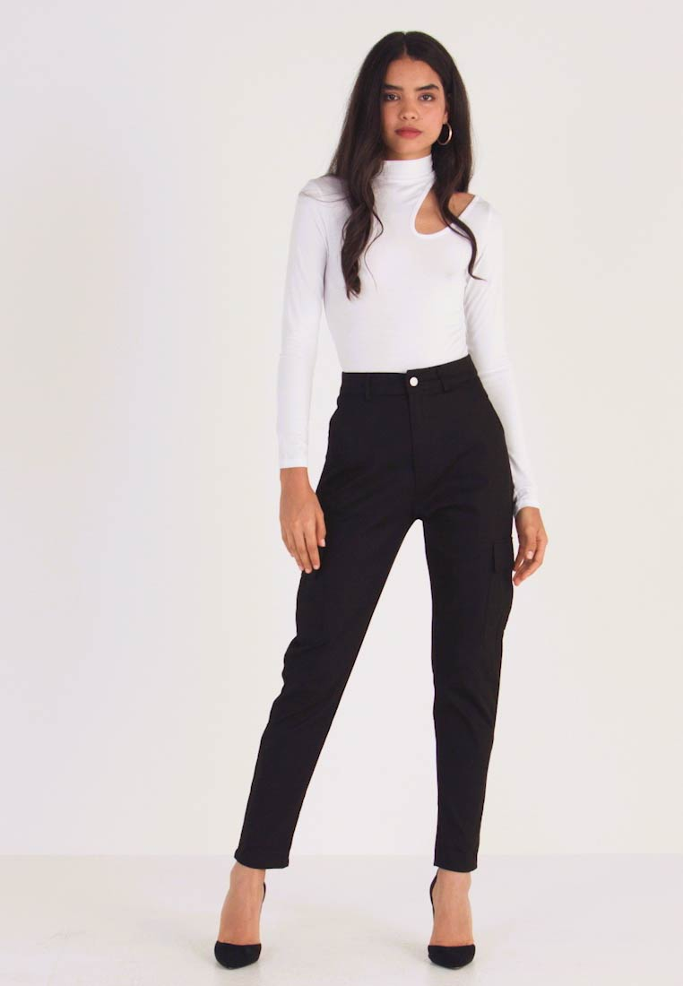 Missguided Tall HIGH WAISTED TROUSERS WITH SIDE POCKETS - Spodnie materiałowe - black