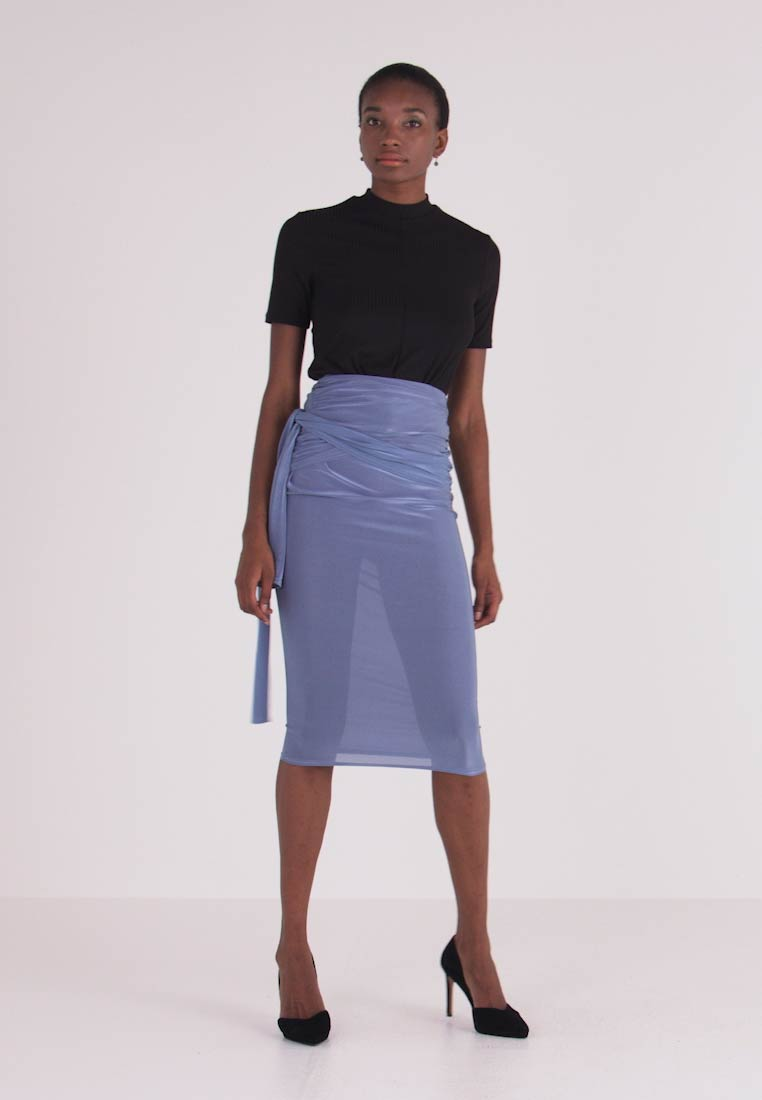 Missguided Tall - SLINKY KNOT FRONT SKIRT - Pencil skirt - blue - 1