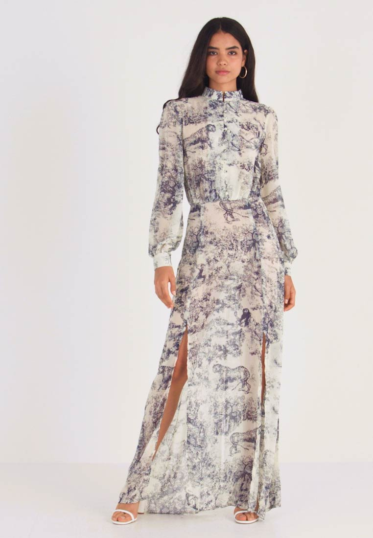 Missguided Tall - CHINA PLATE BUTTON FRONT MAXI DRESS - Cocktail dress / Party dress - blue - 1