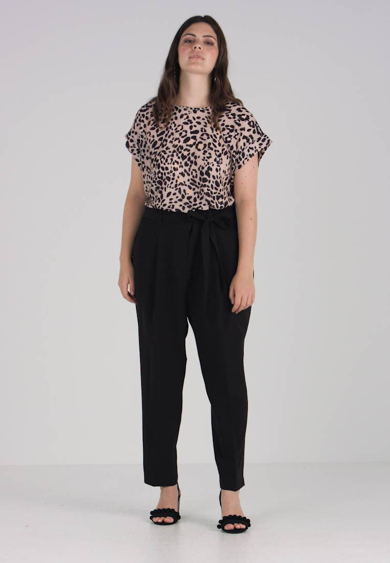New Look Curves - MILLER PAPER BAG TROUSER - Bukser - black - 1