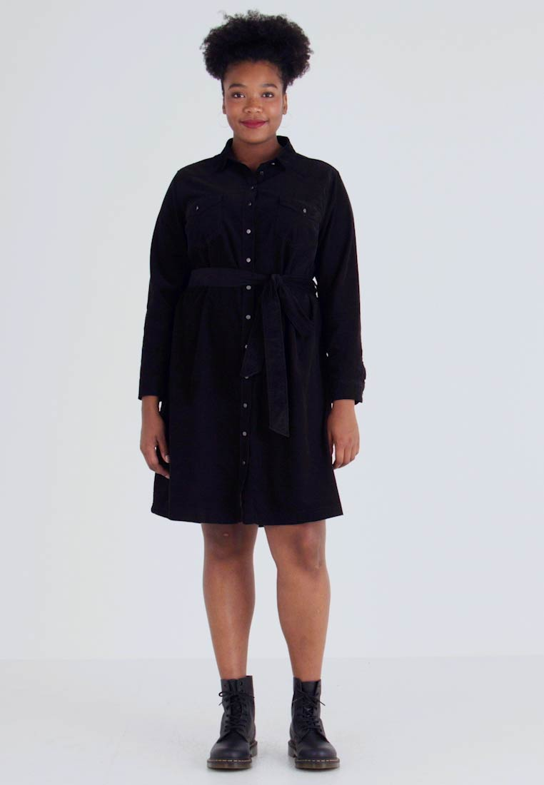 New Look Curves - BELTED DRESS - Shirt dress - black - 1