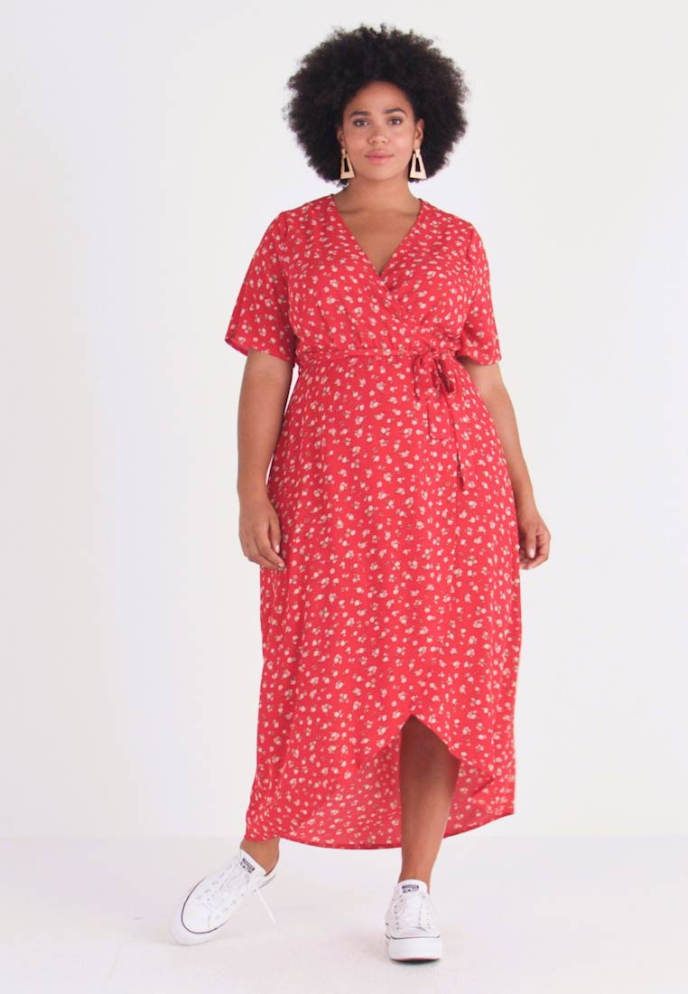 New Look Curves - NELLE FLORAL HIGH LOW - Vestito lungo - red - 1