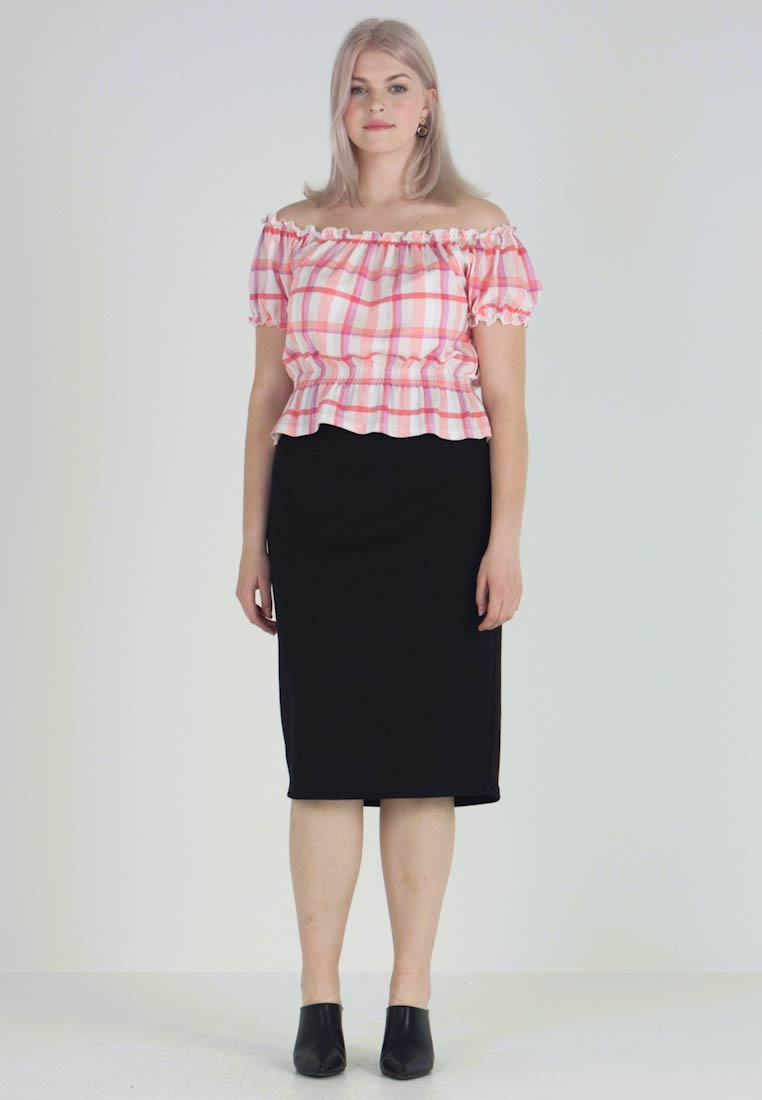 New Look Curves - CHECK MILKMAID - Triko s potiskem - pink - 1