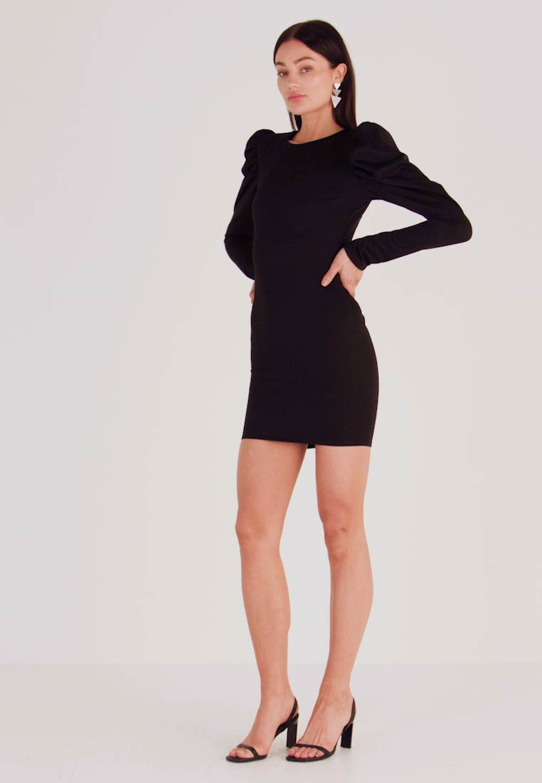 Nly by Nelly - OPEN BACK PUFF DRESS - Cocktail dress / Party dress - black - 1