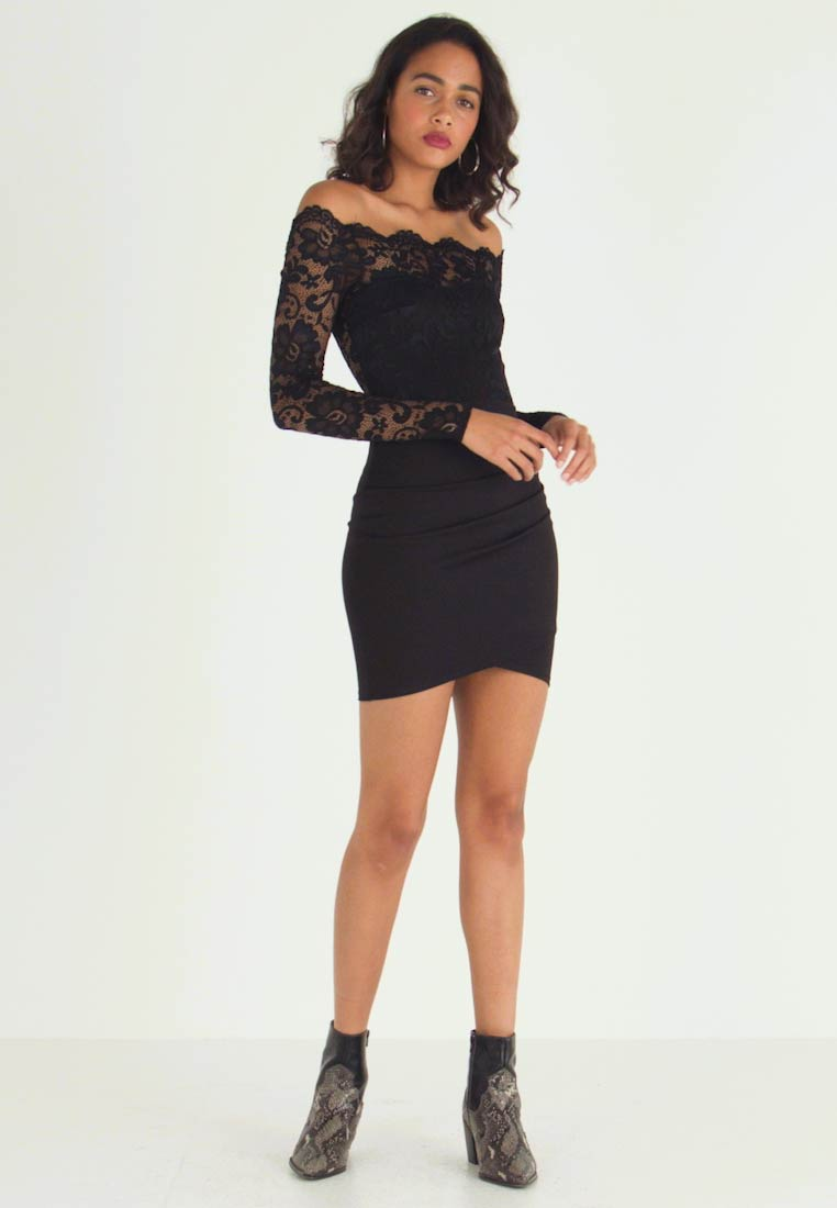 Nly by Nelly - OFF SHOULDER SKATER - Cocktail dress / Party dress - black - 1