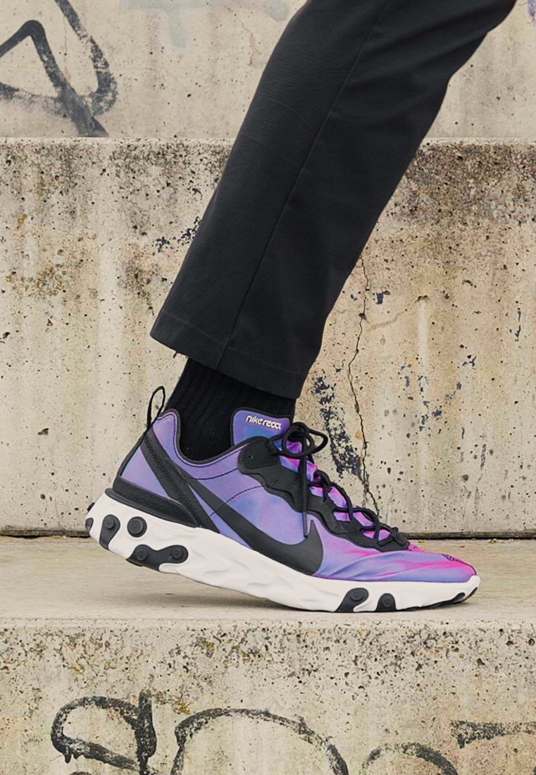 Nike Sportswear - REACT 55 - Sneaker low - black/pure platinum/wolf grey/teal/voltage purple/white - 1