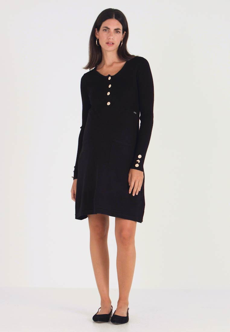 ohma! - NURSING FLAT DRESS WITH BUTTONS - Robe pull - black - 1