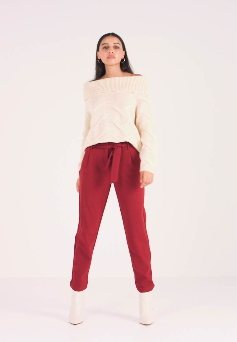 ONLY - ONLCAROLINA BELT PANTS - Trousers - merlot - 1