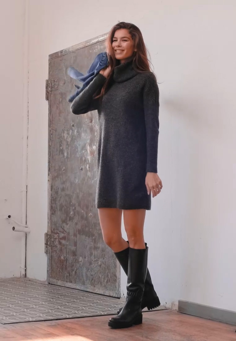 ONLY - ONLJANA COWLNECK DRESS  - Strikkjoler -  grey - 1