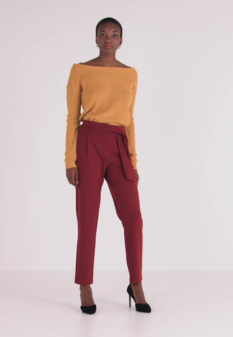 ONLY Tall - ONLCAROLINA BELT PANTS - Broek - merlot - 1