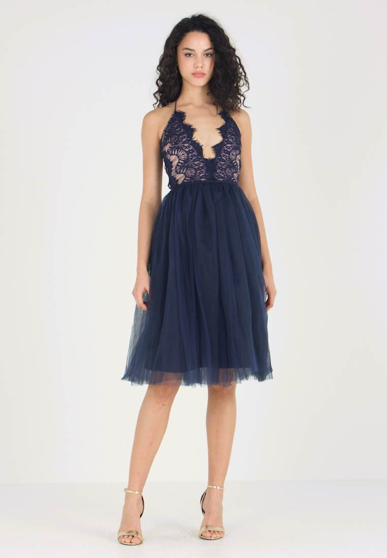 Rare London - SLEEVELESS EYELASH PROM DRESS - Sukienka koktajlowa - navy - 1