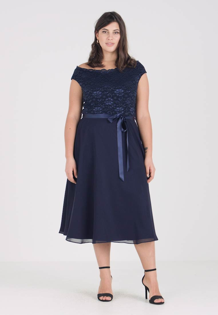 Swing Curve - EXCLUSIVE BARDOT FIT AND FLARE DRESS - Koktejlové šaty / šaty na párty - navy - 1