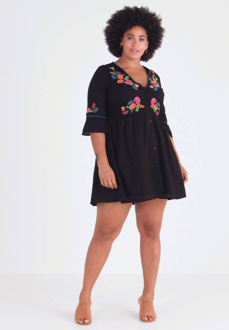 Simply Be - EMBROIDERED V NECK DRESS - Day dress - black - 1