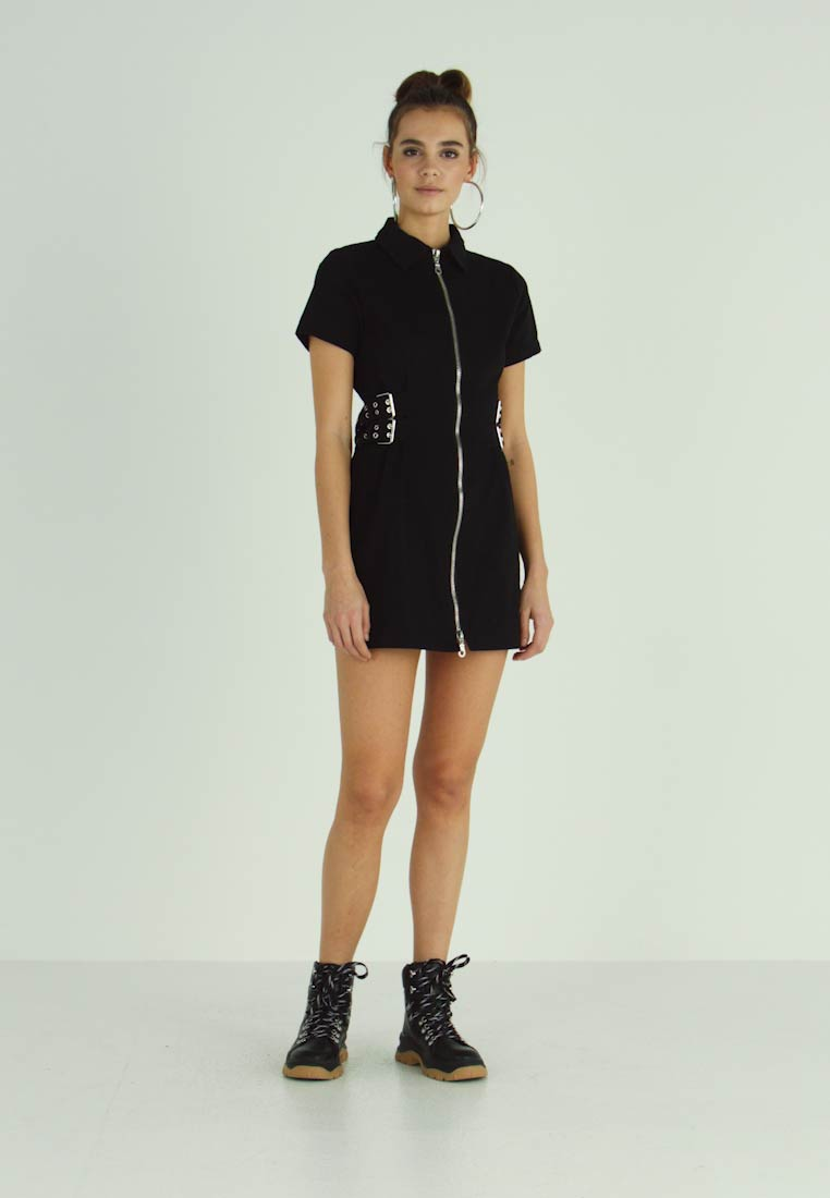 The Ragged Priest - DRILL FITTED  DRESS WITH BUCKLE EYELET DETAIL - Farkkumekko - black - 1