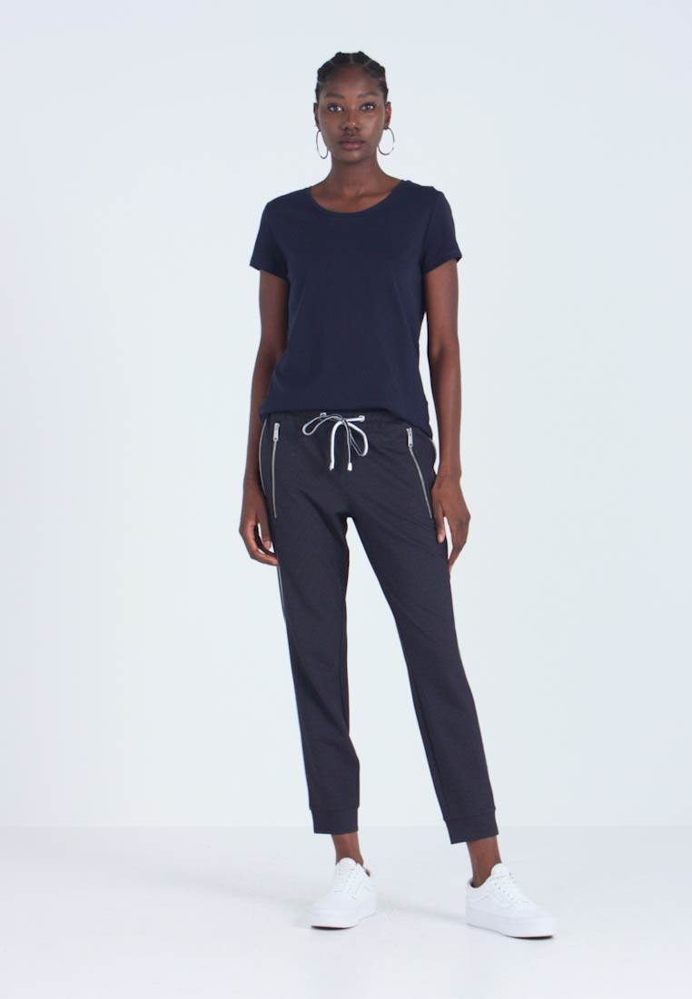 TOM TAILOR - LOOSE FIT PANTS WITH ZIPS - Spodnie materiałowe - navy blue - 1