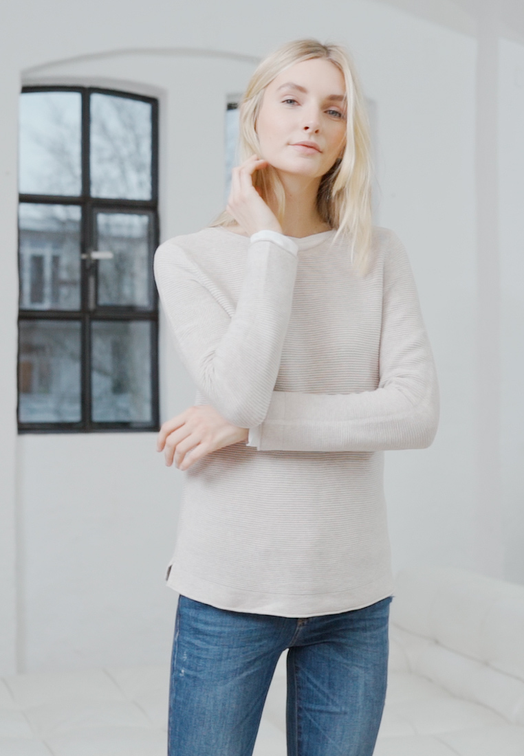 TOM TAILOR - SWEATER NEW OTTOMAN - Pullover - dusty alabaster melange - 1