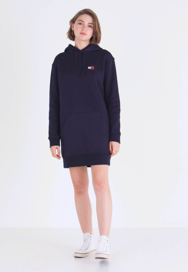 Tommy Jeans - BADGE HOODIE DRESS - Robe d'été - black iris - 1