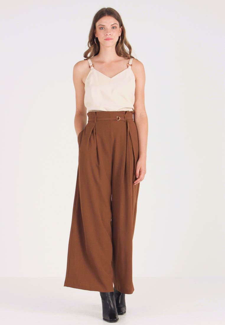 Topshop - JINGLE WIDE TROUSER - Trousers - brown - 1