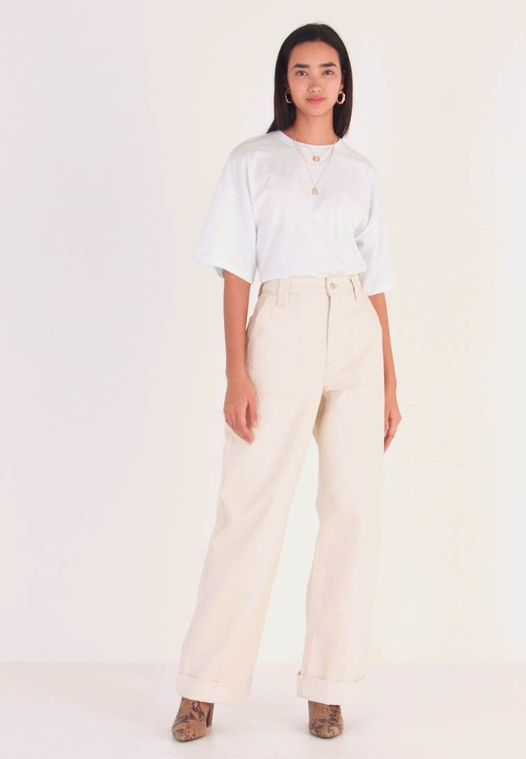 Topshop - UTIL TURNH WIDE - Relaxed fit jeans - ecru - 1