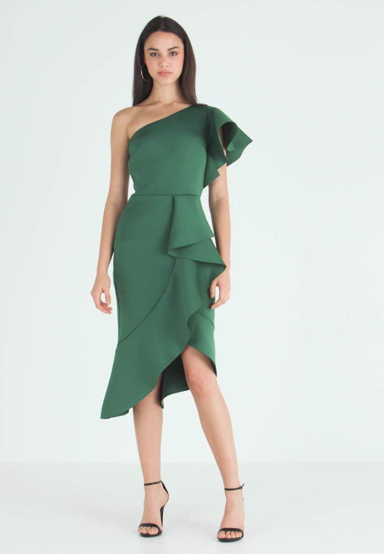 True Violet - TRUE ONE SHOULDER DRESS WITH FRILL DETAIL - Cocktail dress / Party dress - green - 1