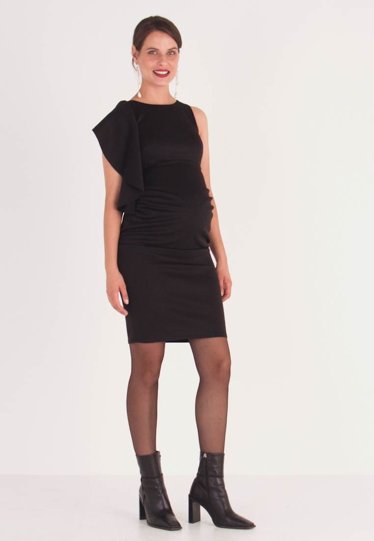 True Violet Maternity - RUFFLE PANEL BODYCON DRESS - Cocktailjurk - black - 1