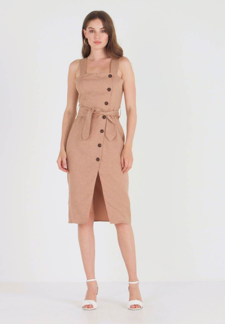 UNIQUE 21 - BUTTON FRONT MIDI DRESS - Blousejurk - camel - 1