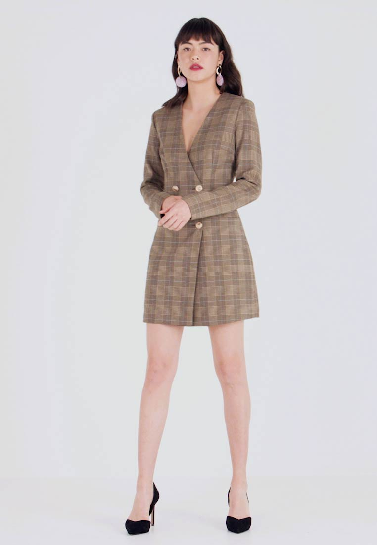 UNIQUE 21 - TAILORED IN CHECK - Shirt dress - tan - 1