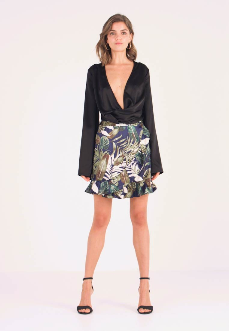Vero Moda - VMLEAVES FRILL SKIRT - Wrap skirt - night sky - 1