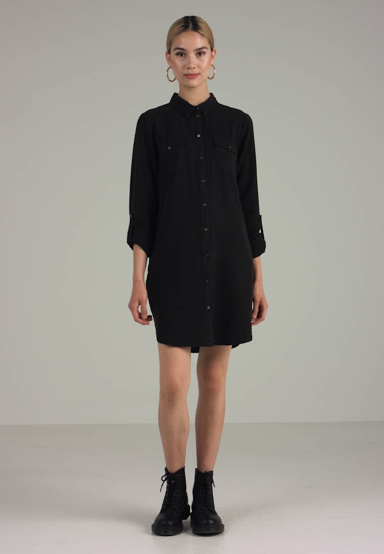 Vero Moda - VMSILLA SHORT DRESS - Vestido camisero - black - 1
