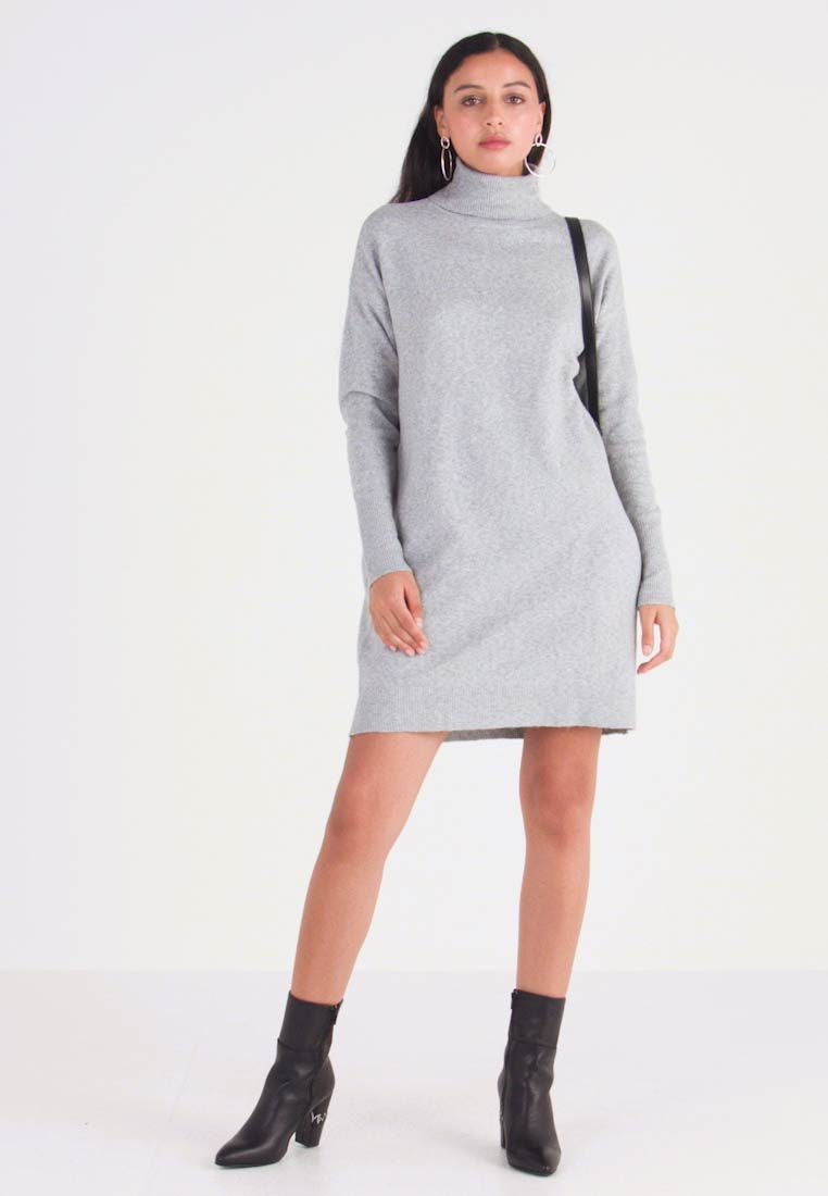 Vero Moda - VMBRILLIANT ROLLNECK DRESS - Vestido de punto - light grey melange - 1