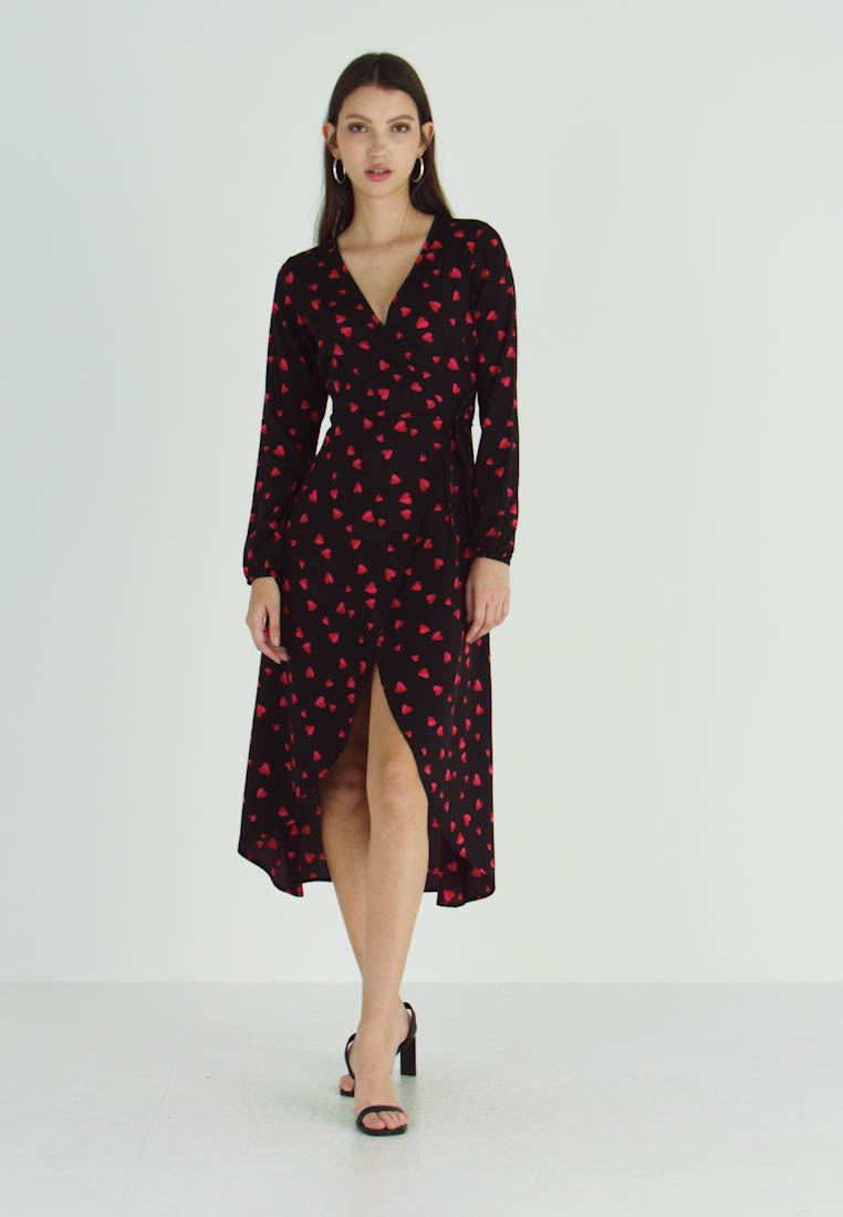 Wednesday's Girl - LONG SLEEVE MIDAXI WRAP DRESS WITH DIPPED HEM - Vestido informal - black/red/pink - 1