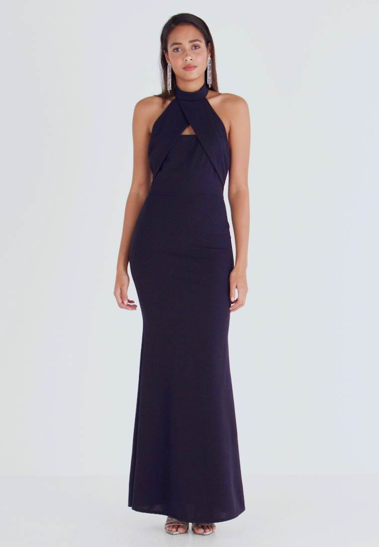 WAL G. - HIGH NECK CROSS MAXI DRESS - Juhlamekko - navy - 1
