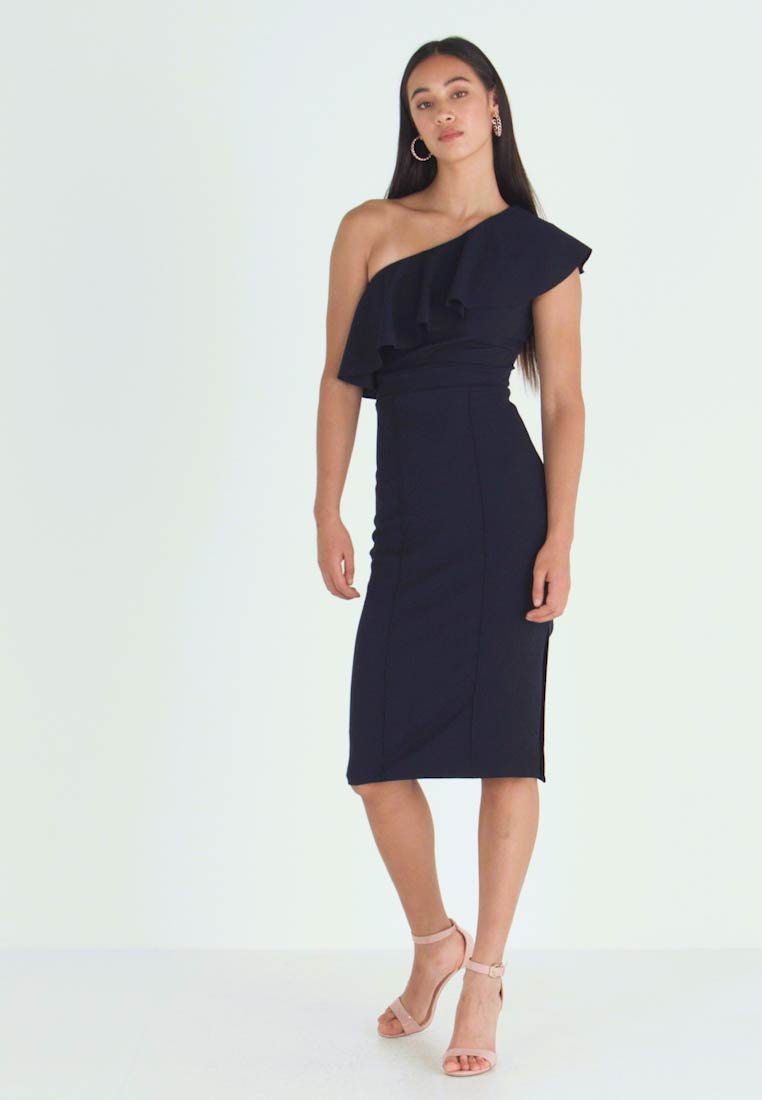 WAL G. - FRILL OFF THE SHOULDER DRESS - Juhlamekko - navy - 1